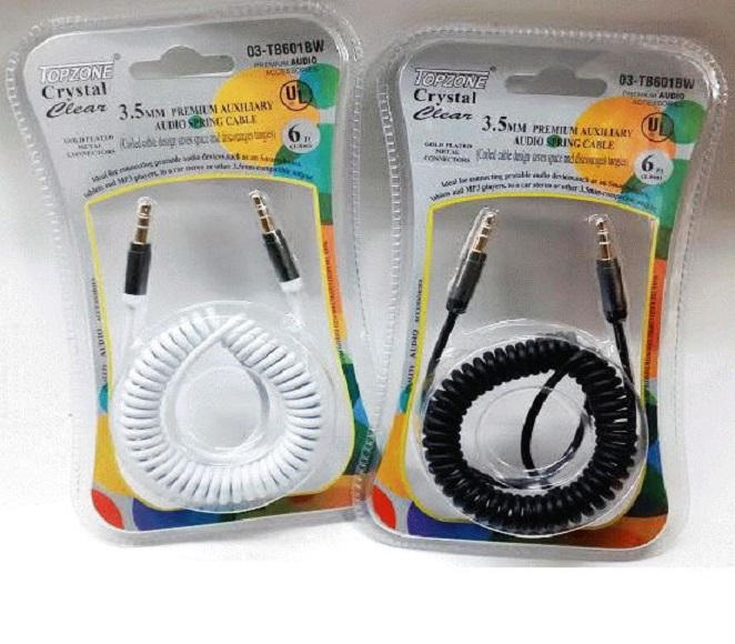 AUXILIARY SPRING CABLE 6FT 3.5MM PLUG (BLACK,WHITE) TOPZONE