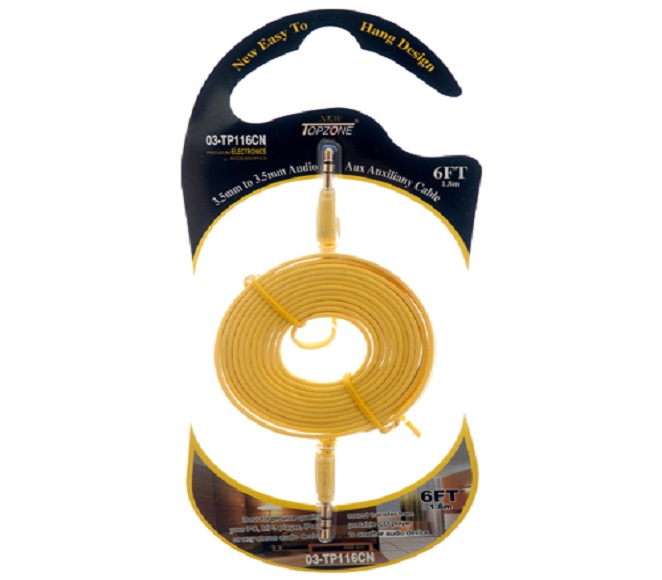 AUXILIARY AUDIO CABLE 6FT 3.5MM TO 3.5MM PLUG YELLOW TOPZONE