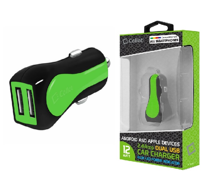 CAR CHARGER POWER ADAPTER CELLET (GREEN)
