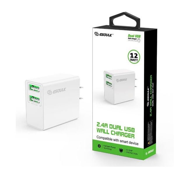 HOME ADAPTER DUAL USB ESOULK WHITE