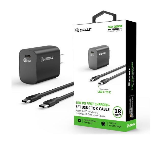 HOME ADAPTER COMBO USB C TO C CABLE 5FT ESOULK BLACK