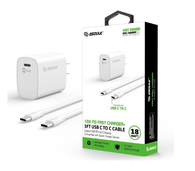 HOME ADAPTER COMBO USB C TO C CABLE 5FT ESOULK WHITE