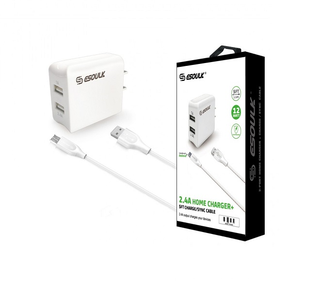 HOME ADAPTER COMBO MICRO USB 5FT WHITE ESOULK