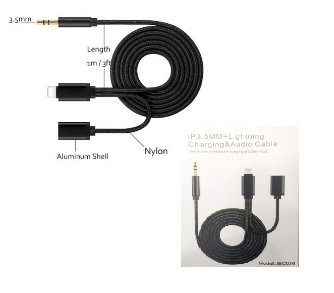 3.5mm Aux with Iphone male and female port JBC036 (Black)