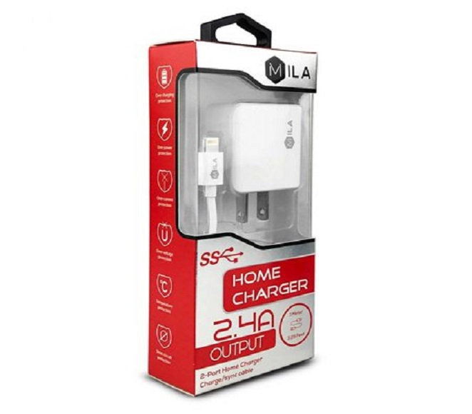 HOME ADAPTER COMBO IOS 3FT PLASTIC WHITE MILA