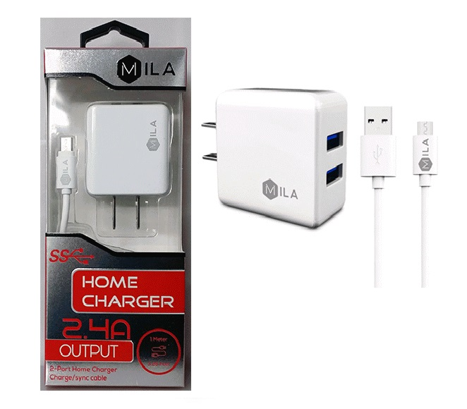 HOME ADAPTER COMBO MICRO USB WHITE MILA