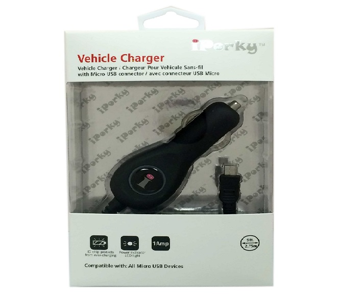 CAR ADAPTER COMBO MICRO USB SPIRAL BLACK iPORKY