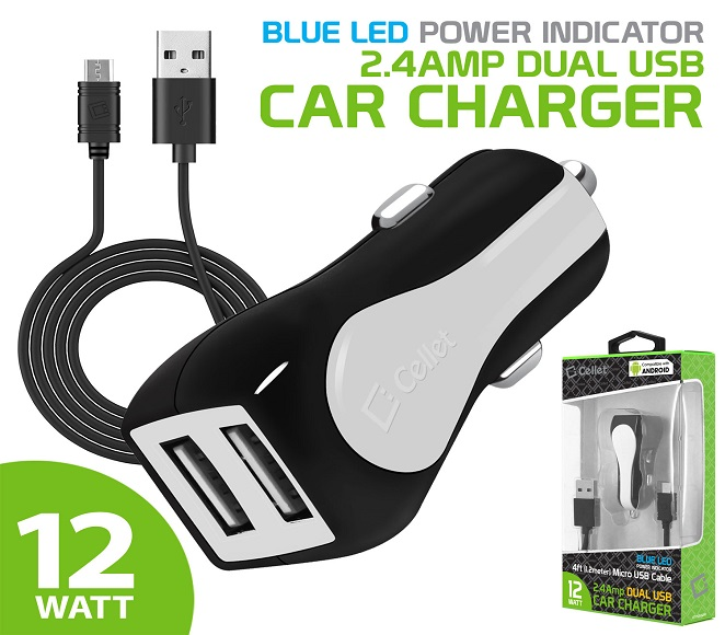 CAR CHARGER WITH MICRO USB DATA CABLE CELLET (BLACK/WHITE)