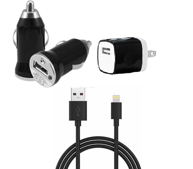CAR AND HOME CHARGE WITH IOS CABLE BLACK UNIVERSAL