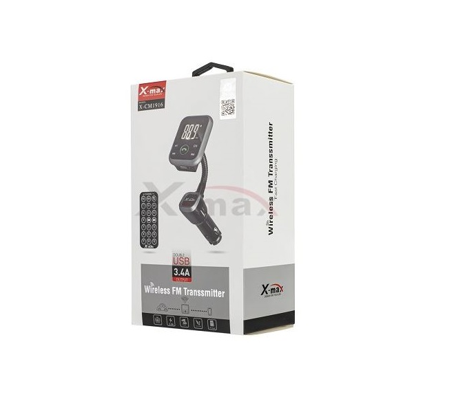 TRANSMITTER WIRELESS 3.4A CAR CHARGER X-CM1916 (BLACK)
