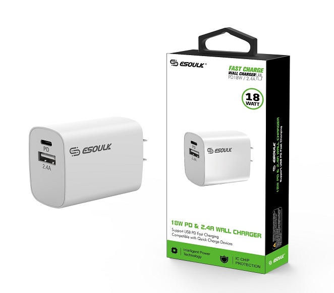 HOME ADAPTER DUAL USB 18W PD & 2.4A ESOULK WHITE