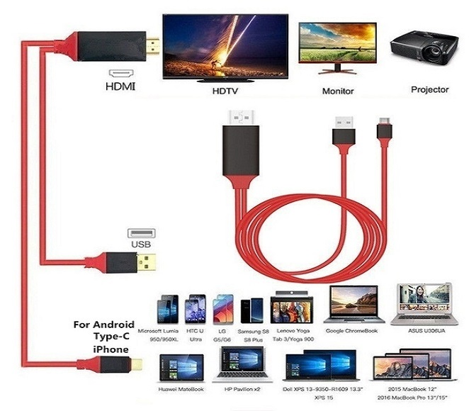 MOBILE PHONE TO HDTV CABLE FOR LIGHTING MICRO TYPE-C(BLACK/RED)