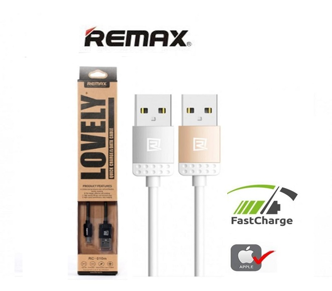 CABLE DATA and FAST CHARGER iPHONE REMAX (GOLD)
