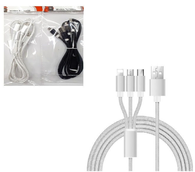 3 in 1 CABLE 3FT MICRO, TYPE C, APPLE (BLACK)